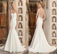 Compra Trasporto In Rilievo Di Figura-Brand New Mermaid Sweetheart Semi-Cattedrale Bordare Sparkle perline cinghie V-shape Low Back Abito Da Sposa Abito Da Sposa spedizione gratuita