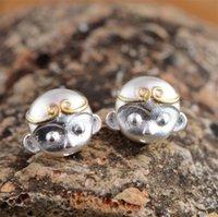 Wholesale Tian Rings - Zodiac Sterling Silver Monkey Ring Gilt Crafts Qi Tian Da Sheng Monkey King Beautifully Stud Earrings