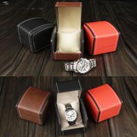 caixas de relógio de luxo venda por atacado-Luxo PU Caixa De Relógio De Couro Caixa De Relógio De Couro Caixas De Presente com Travesseiro Para Brinco Anel Caixa De Embalagem De Brincos