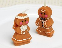 Wholesale Bride Groom Candles - 100pcs lot Gingerbread bride and groom candle Children's party decoration candle Valentine's Day confession candle