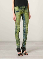 Le donne a coste Zip Moto Skinny Jeans Denim nuovissimo Tg 26 27 28 29 30