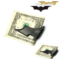 Wholesale Blank Money Clip - New DIY Blank bat money clip wallet, zinc alloy, stainless steel metal money clips 50PCS LOT Free Shipping 4002