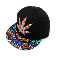 Wholesale Wholesale Flat Bill Hats - TNT UPS Fast Shipping 1 of Colorful Baseball Hat Hip-hop Rasta Maple Leaf Leaf Pot Flat Pop Bill Snapback Baseball Cap 1000pcs