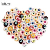 Wholesale Image Christmas Tree - BoYuTe 70Pcs Round Glass Cabochons 10mm Mix Eye Wishing Tree Image Transparent Glass Cabochon Earring Blanks Cover XL4943