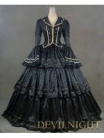 Wholesale Gothic Renaissance Dresses - Black Vintage Royal Gothic Renaissance Victorian Steampunk Dress Gown Civil War Era Ball Gown For Hallowemas 2017