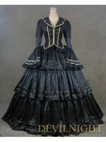 Wholesale Victorian Steampunk Dresses - Black Vintage Royal Gothic Renaissance Victorian Steampunk Dress Gown Civil War Era Ball Gown For Hallowemas 2017