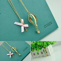 Wholesale Snake Balloons - 1Pc Hot sale Cute Hot-air balloon Pendant Long Chain Sweater Necklace C00402