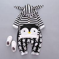 Wholesale Clothing Childen - Kids Clothes New 2017 Autumn Childen Penguin Clothes Sets Stripe Top+Pants 2 Pcs Cotton Clothing 5 S l