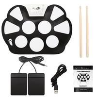 kit de bateria eletrônica usb venda por atacado-Novo Profissional Portátil Eletrônico Roll up Drum Pad Kit Dobrável Silicon USB Drum com Vara atacado
