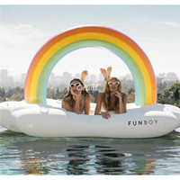 Wholesale Wholesale Audlt Toys - Water 240cm pool inflatable rainbow clouds floating row Mattress Pool Fun Water Beach Toys Boia Piscina Air Bed for audlt kids