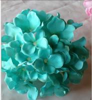 suni ipek beyaz ortanca toptan satış-14-15 cm Yapay Çiçekler Noel partisi Moda Düğün Ipek Yapay Ortanca Çiçekleri Kalp Beyaz Çapı Ev Süs Decorration