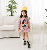Everweekend Kids Girls Смазливая вышивка кроликов Ruffles Tutu Baby Dress Rainbow Lovely Dress Holiday Western Children Dress