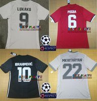 Wholesale Martial Uniforms - Champions League Player Version POGBA ibrahimovic LUKAKU Soccer Jersey 17 18 Soccer Shirt Customized MARTIAL football uniform Sales