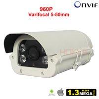 Wholesale Video Cmos Sensor Lens - Outdoor CCTV Video Surveillance Camera Waterproof 960P 1.3MP HD Onvif IP Camera P2P H65 CMOS Sensor with IR Cut & 5-50mm Lens