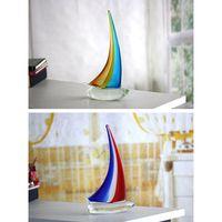 ornements de noël personnalisés achat en gros de-Voile bateau ornements chanceux personnalisé en verre sculpté décoration artisanat ornements avec 2 couleurs pour cadeau de Noël
