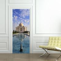 Wholesale Building Murals - 3D Taj Mahal Door Sticker 2 pcs set Creative Building View Door Wall Stickers Home Decoration Poster PVC Cloud River Blue Sky Door Sticker