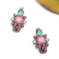 Wholesale Medical Items - New Item 2015 Women Jewelry Fashion Large Created Gems Opal Teardrops Cluster Earrings Factory Wholesale earrings medical