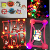 Wholesale Led 3d Iphone Case - Universal 3D Cartoon LED light case bumper micky Halloween night Luminous christmas Lighting bumpers frame For iphone x 8 plus Samsung s8