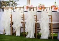 Wholesale Organza Sash Cover Chairs - Custom Made 2016 Feminine Ivory Organza Chair Covers Ruffles Crystals Chair Sashes Romantic Wedding Decorations Wedding Supplies