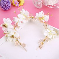 Wholesale White Flower Headbands - Crystal Bridal Wedding Alloy Colour Flower Crown 2018 Romantic Flower Shaped Bridal Tiaras Handmade Bridal Hair band Accessories
