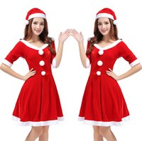 Wholesale Shirt Halloween Adult - Europe and the United States sexy dress Christmas dress female adult robes Halloween role - playing Christmas uniforms suit
