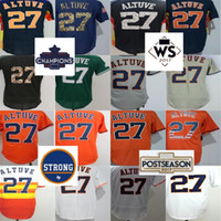 Niños Al Por Mayor Baratos Baratos-Cheap Wholesale 2017 Houston Strong WS Campeones Parche Mens Mujeres Niños Houston 27 José Altuve Blanco Naranja Azul Gris Jerseys de Béisbol