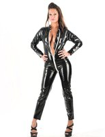 Wholesale Leather Look Tops - Sexy Catwoman Catsuit Queen Top Quality Black Vinyl Catsuit Wet Look Jumpsuit Latex Faux Leather Zipper to Crotch Jumpsuit W1145
