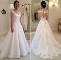 Wholesale Look Vestidos Sexy - Latest Looking of New A Lace Appliques Wedding Dresses A line Sheer Bateau Neckline See Through Button Back Bridal Gown Cap Sleeves Vestidos