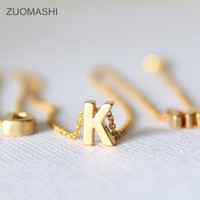Wholesale Wholesale Name Plate Necklaces - Tiny gold initial necklace gold letter necklace initials name necklaces pendant for women girls .best birthday gift