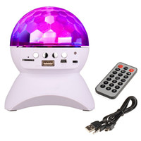 controlador de escenario dj al por mayor-Altavoz Bluetooth Luces de escenario con controlador RGB LED Crystal Magic Ball Efecto de luz DJ Club Disco Fiesta de iluminación con USB / TF / FM radio