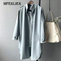 Wholesale Coat For Office Women - Office Autumn Long Trench Coat For Women Boy Friend Style Epaulet Stand Collar Single Breasted Striped Liner Trench