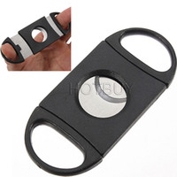Wholesale Double Cigar Cutter - Pocket Plastic Stainless Steel Double Blades Cigar Cutter Knife Scissors Tobacco Black New #2780