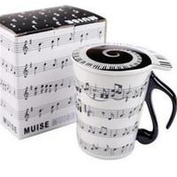Wholesale universal tray - Heat Resistant Mugs Universal Single Layer Round Tumbler Musical Note Stave Keys Pattern Ceramics Cup Creative 7 79tt B