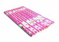 Wholesale Packaging Eraser - 12pieces lot hello kitty 3 pencils without eraser cute pink pencil set school stationary for kids blulk package factory price pencils