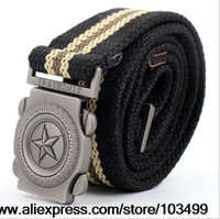 Wholesale Red Star Belt Buckle - Wholesale-Five-pointed stars men thickening canvas Men's and Women's Military belts Army thicken Alloy buckle Jean's Belt