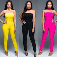 Wholesale Red Strapless Bodysuit - Sexy Women Bodycon Jumpsuit Strapless Bodysuit Black Yellow Skinny Long Pants Night Club Wear Macacao Feminino Rompers