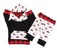 ciervos de las muchachas top de la impresión al por mayor-Baby Christmas set Toddler Deer Bear imprimir 2 piezas Outfit Infant Boy Girl con capucha Tops + Pants Set de ropa para 3M-4T