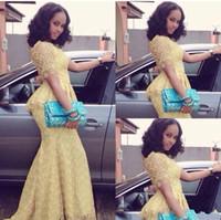 vestidos de baile de formatura amarelos de sereia venda por atacado-Moda africano Vestido Longo O Pescoço Manga Curta Sereia Até O Chão vestido de baile Amarelo Rendas Elegante Nigéria Estilo Vestidos de Baile