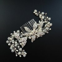 Wholesale Cross Barrette - Crystal Bridal Hair Comb Silver Rhinestone Flower Wedding Headpiece Crystal And Pearl Spray Comb Bridal Hair Jewelry