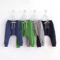 Wholesale Girls Hot Green Pant - Hot children boys harem pants trousers 2016 spring fashion kids girls candy color casual pants baby cotton pocket pant 2-8Y high quality