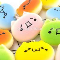parça ekmek toptan satış-Toptan Satış - Toptan-30 Adet / lot Kawaii Squishy Ekmek Japon Kaomoji İfade Totoro Telefon Askıları Toptan