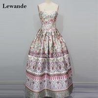 Vintage Exquisite Sweetheart Floral Print Homecoming Prom Dress per College A Line Long Splendido Satin Evening Gown Lewande 50797