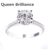 NOUVEAU DEF 2 Carat CT Round Prongs Lab Grown Moissanite Diamond Ring avec Real Diamond Accents Solid 14K 585 White Gold 17903