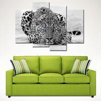 malerei holzrahmen großhandel-4 Stücke Schwarz Weiß Wandkunst Malerei Blue Eyed Leopard Drucke Auf Leinwand Das Bild Mit Holzrahmen Für Heimtextilien Bereit zu Hängen