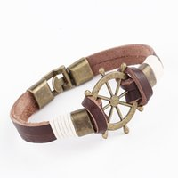 Wholesale Steering Wheel Wraps - 2016 Hot Men's Fashion Alloy Genuine Leather Bracelet Bangle Cord Brown Steering Wheel Brand New Wrap Bracelets Wholesales Stock NICE