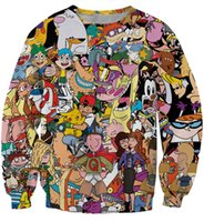 Wholesale Size Pullover Youth - Cartoon Totally 90s 3D Sweatshirt Pokem*n Game Cute Hip Hop Dance Shirts Unisex Men's Womens Youth T shirts with no Hoodies Plus Size XXXL