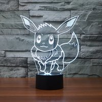 Wholesale Pokemon Figure Collection - Hot sale Poke Go Collection Game Figure Toys Poke Eevee chaos black 3D 3D Illusion LED Night Light Color Change Poke Toys Gift for kids