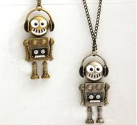 Wholesale Robots Prices - Free Shipping Europe and the United States foreign trade retro music robot necklace,2016 woman new sweater chain wholesale price