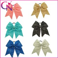 Wholesale Print Ribbon For Baby - Wholesale 8 inch Sequin Covered Baby Girls Solid Ribbon Cheerleading Bows With Elastic Band For Kids