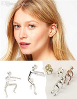 Wholesale Earring Climbing - Wholesale-1PCS Silver Gold Copper Earrings Climbing Man Naked Climber Ear Cuff Helix Cartilage Earring